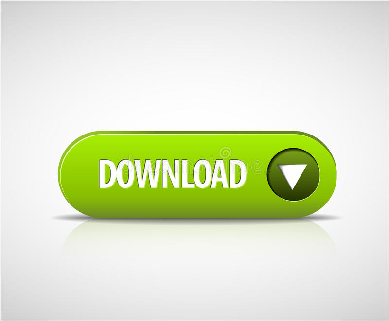 Big green download now button vector illustration
