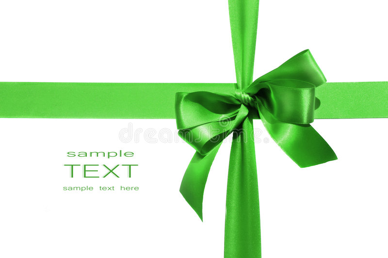 Big green holiday bow on white background stock photography