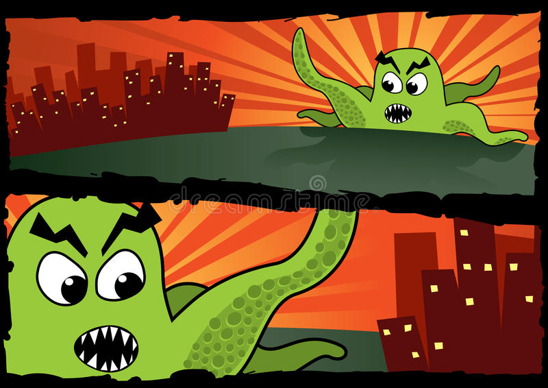 Big Green Monster Banners. Two banners showing a big green monster going to attack a city. Cartoon-like CMYK vector illustration, with global colors royalty free illustration
