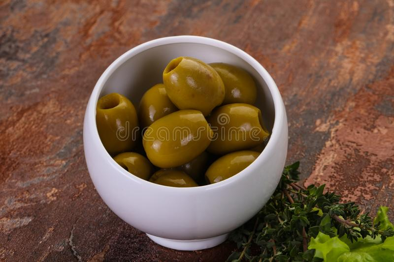 Big green olives royalty free stock images