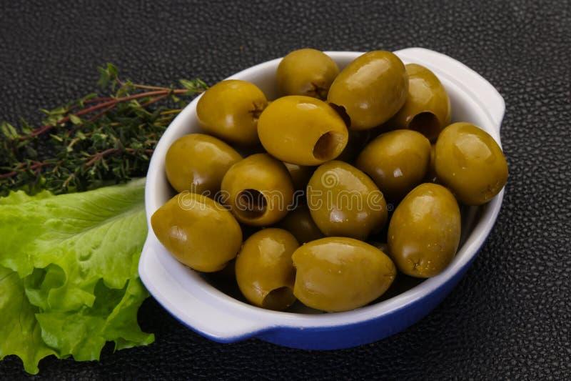 Big green olives royalty free stock photo