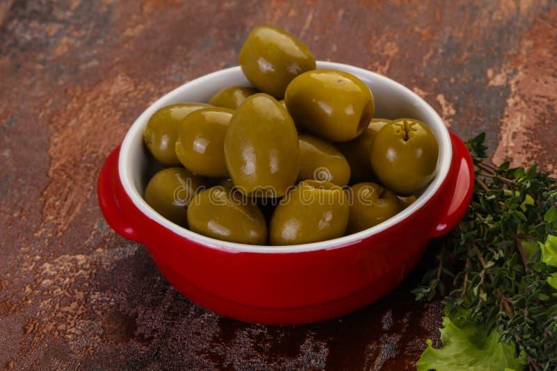 Big green olives stock images