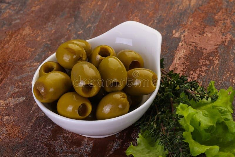 Big green olives royalty free stock photos