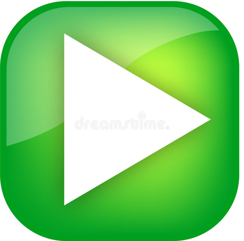 Download Big green play button stock illustration. Illustration of glass - 5012804