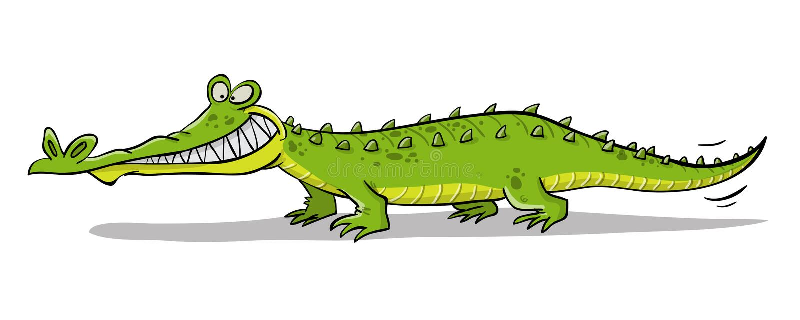 Big green river crocodile. With many sharp teeth vector illustration