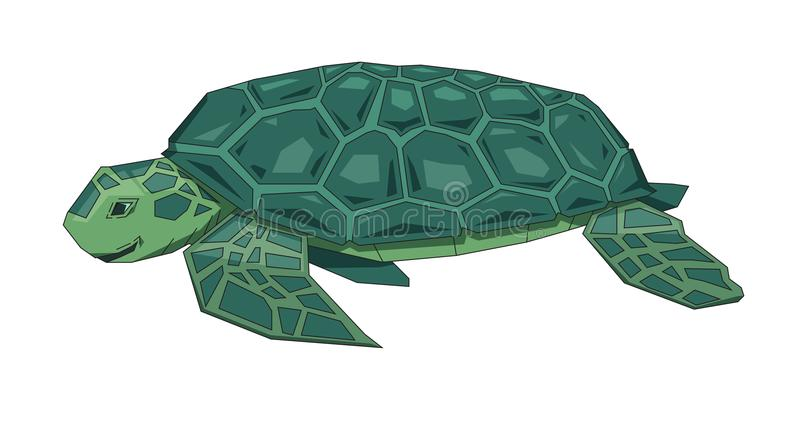 Big green sea turtle, fantasy flat Earth concept. Flat vector illustration. Colored cartoon style, isolated on white stock illustration