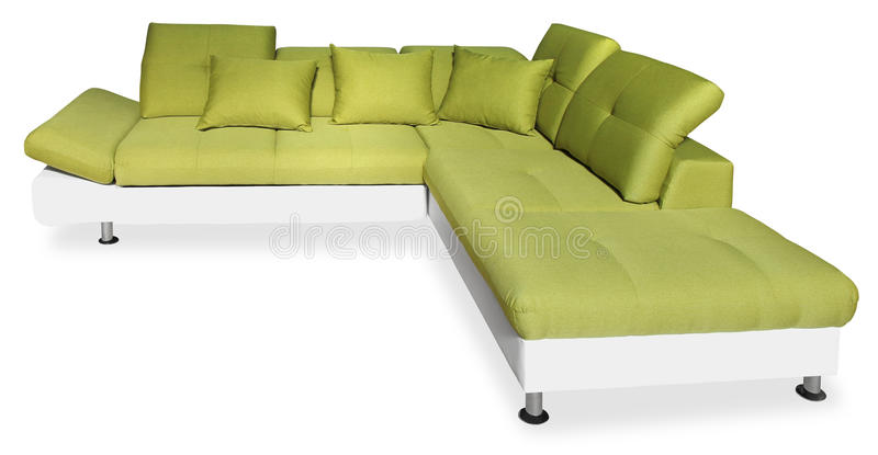 Big green sofa. With pillows, isolated on white background with Clipping Path royalty free stock image