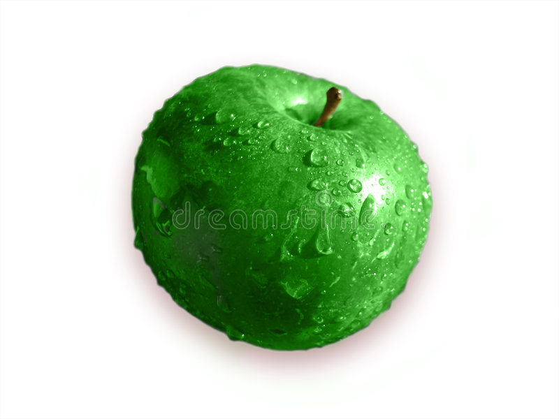 Big green sour apple stock image