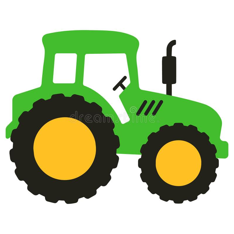 Big green tractor vector cartoon isolated. Vector illustration isolated on white background stock illustration