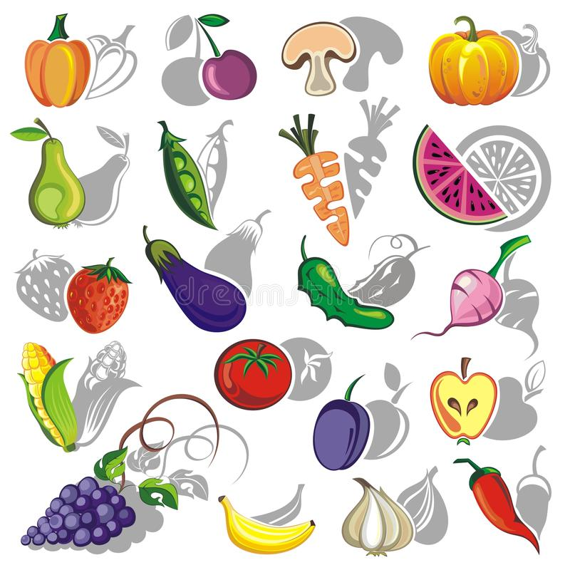 Download Vegetables and fruit stock vector. Image of ecology, orange - 30218804