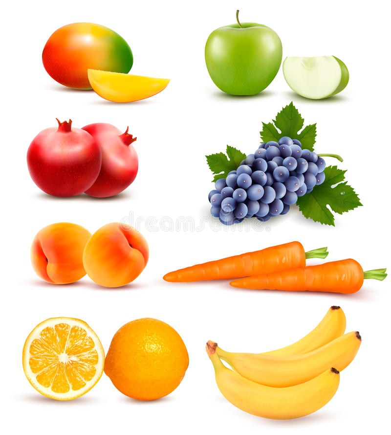 Big group of different fruit and vegetables. vector illustration
