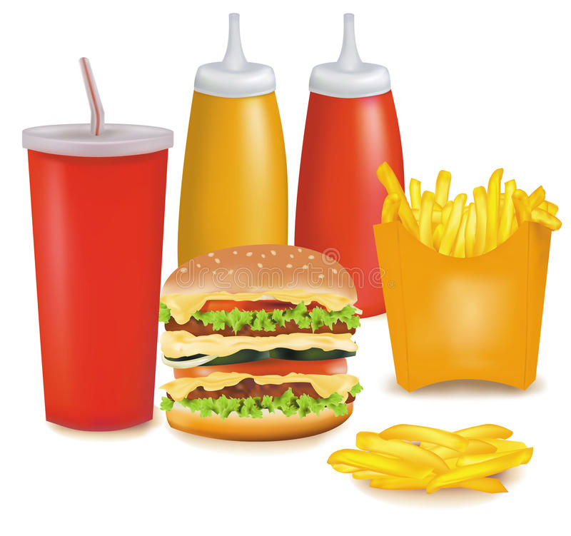 Big group of fast food products. royalty free illustration