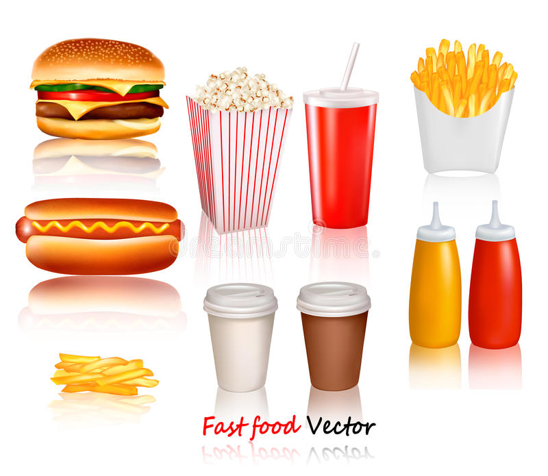 Big group of fast food products. stock illustration