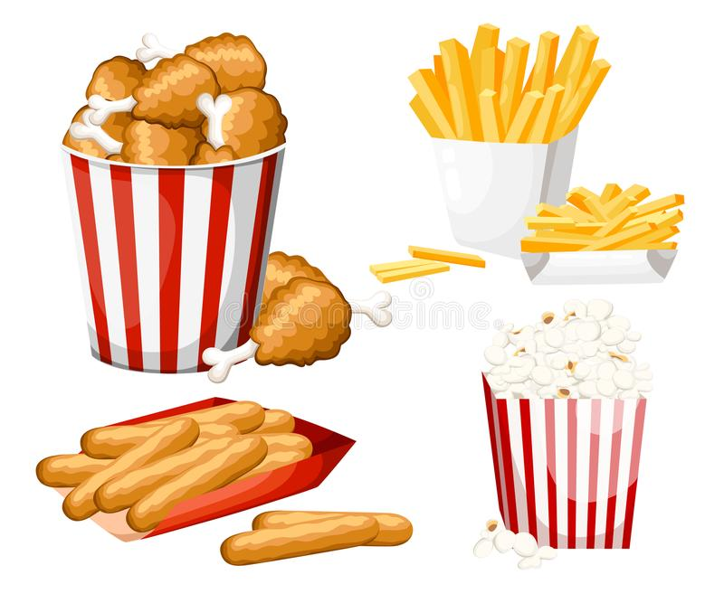 Big group of fast food products. Vector illustration isolated on white background. Set of cheese stick, popcorn, french fries, fri vector illustration