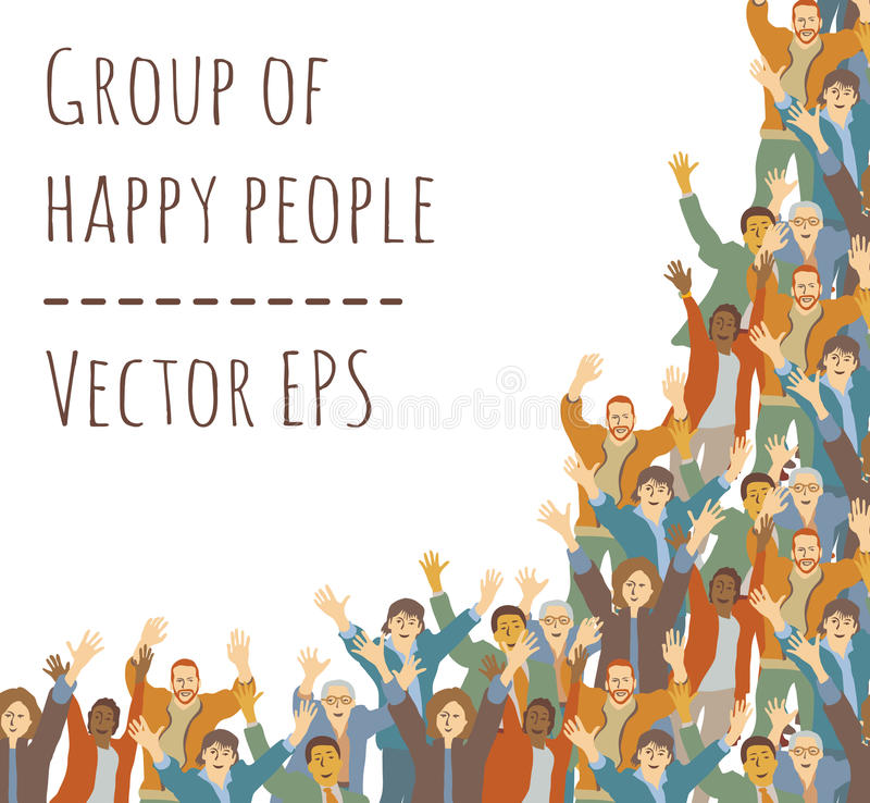 Big Group Happy People Frame Isolate On White Stock Vector ...