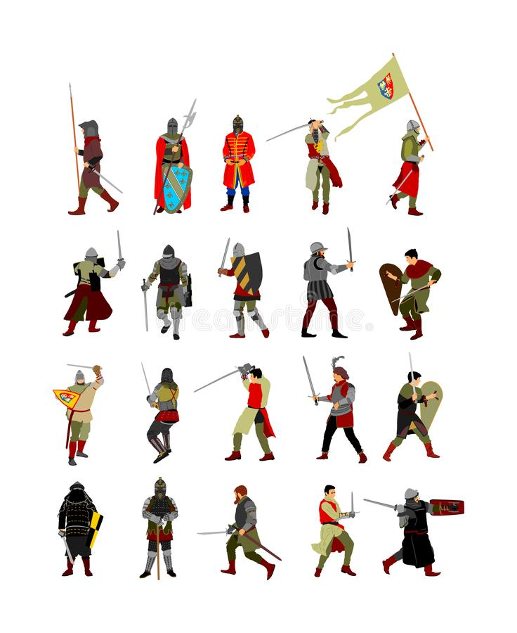 Big group of knights in armor, with sword, helmet and shield  illustration isolated on white background. Medieval fighter. vector illustration