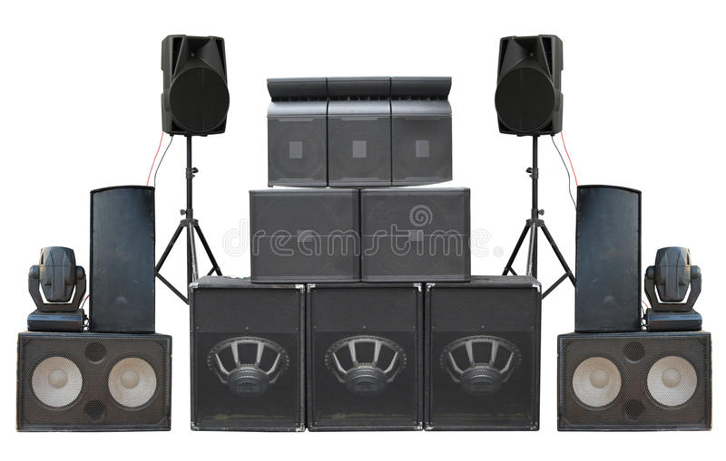 Big group of old industrial powerful stage sound speakers isolated over white stock photo