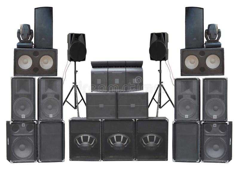 Big group of old industrial powerful stage sound speakers isolated over white royalty free stock photography