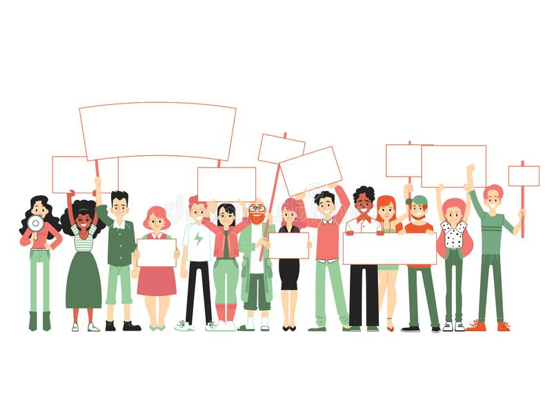 Big group of people, crowd of men and women standing together and holding blank banners. stock illustration