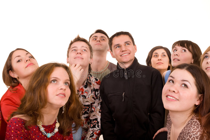 Big group of people looking up. royalty free stock photos