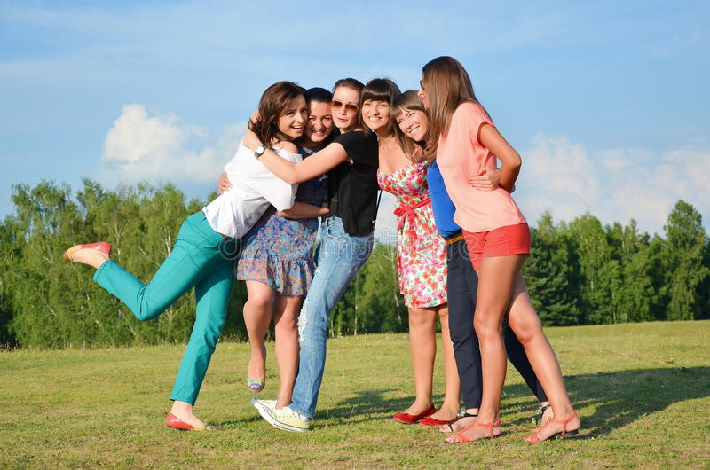 Big group of young girls royalty free stock photos
