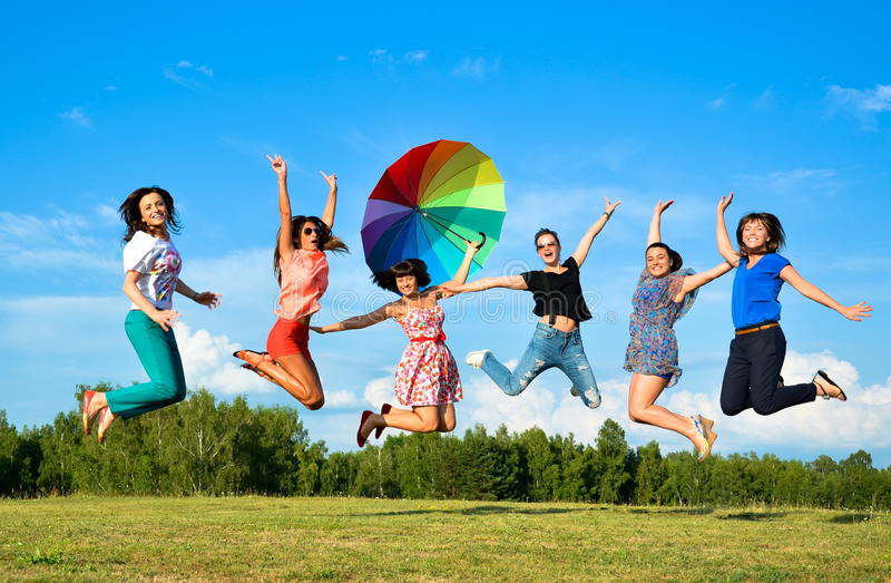 Big group of young girls royalty free stock images