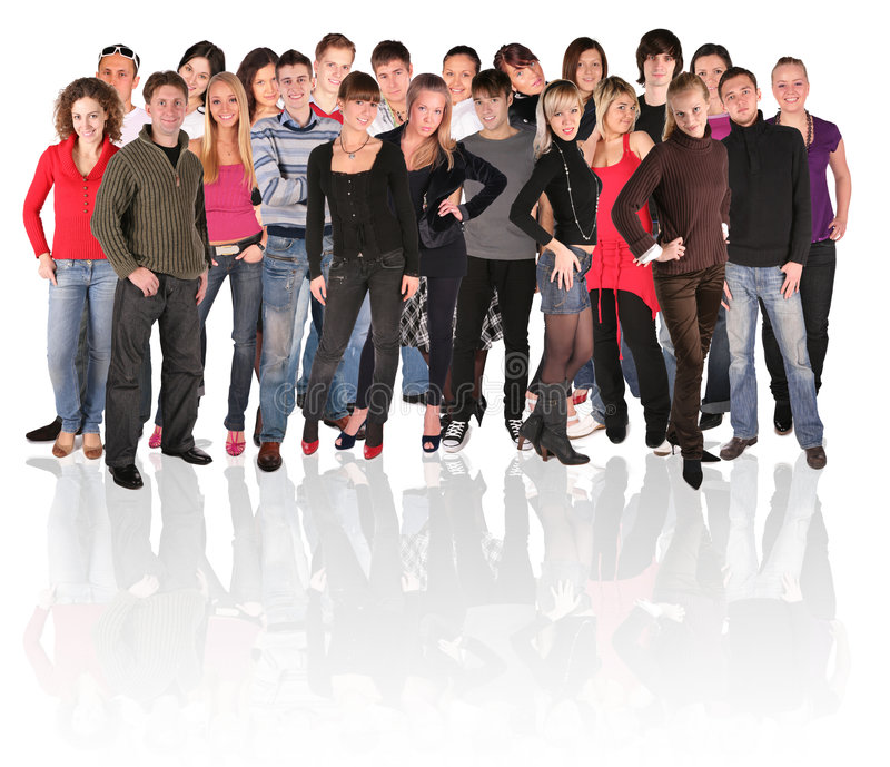 Big group of young people stock images