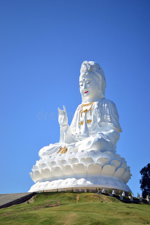 The Big Guanyin Statue in Chiangrai. This is the Big Statue that you will see so far and the statue is located in the Wat Huai Pla Kung Temple in Chiangrai city royalty free stock photos
