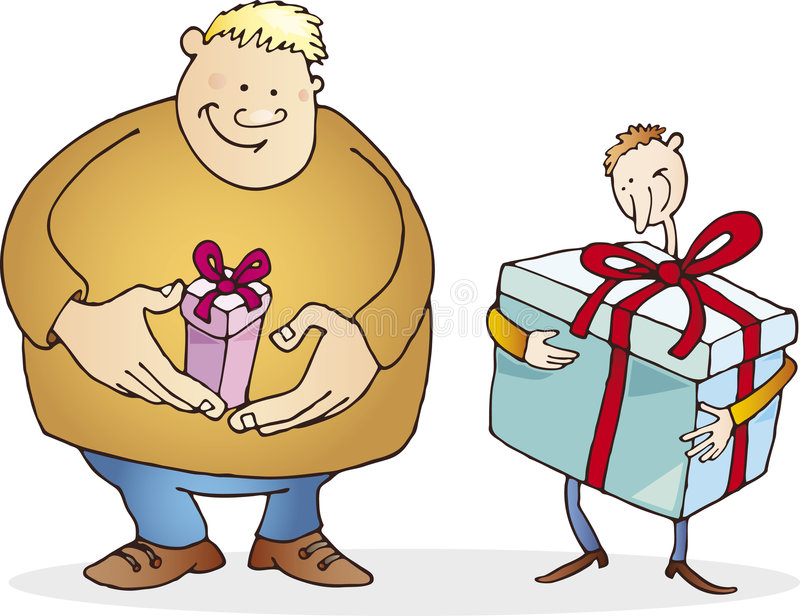 Download Big Guy With Small Present And Thin With Huge One Royalty Free Stock Photo - Image: 6941485