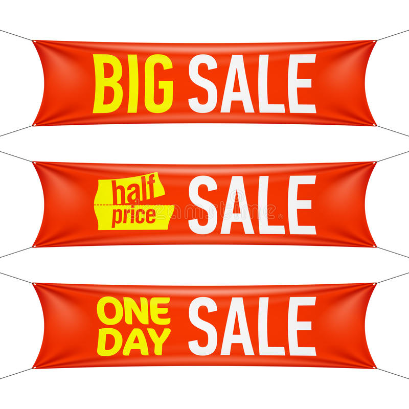 Big, half price and one day sale banners royalty free illustration