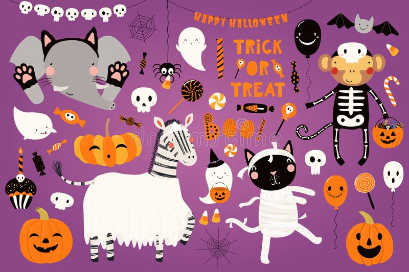 Big Halloween set with cute animals royalty free illustration