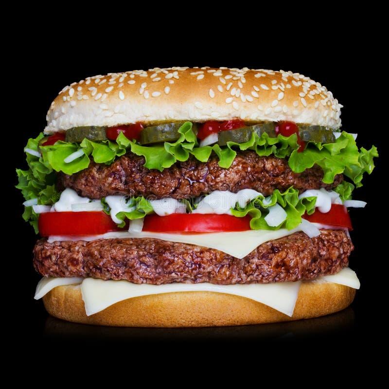 Big Hamburger On Black Background Stock Image Image - Black hamburger