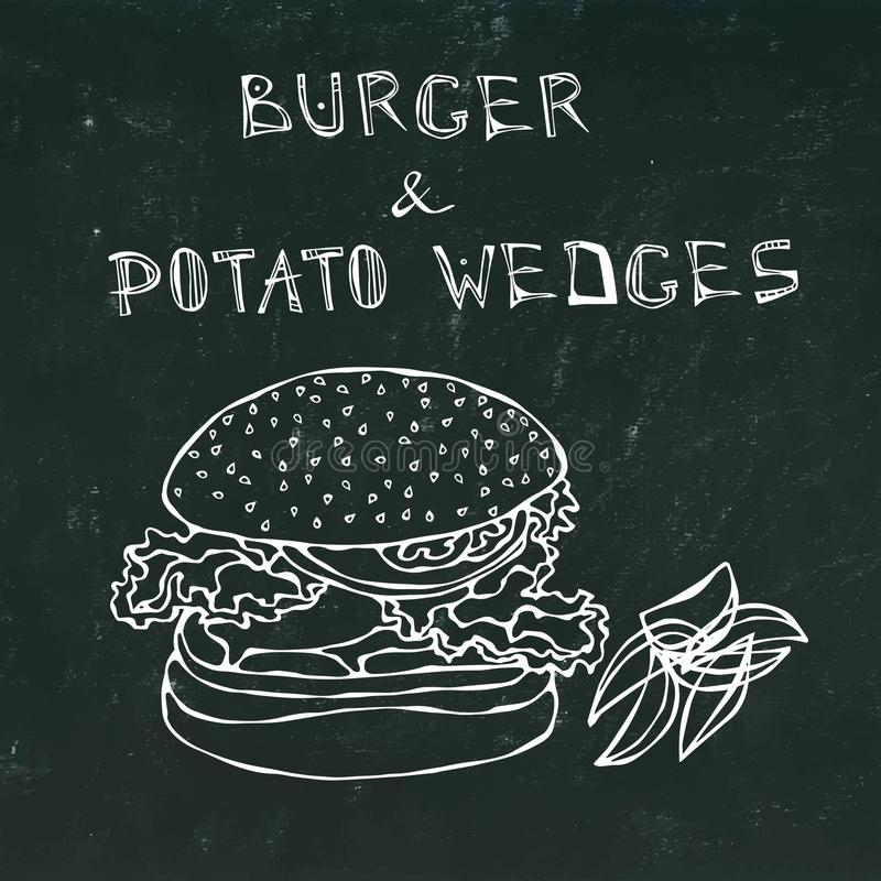 Big Hamburger or Cheeseburger with Potato Wedges. Burger Lettering. Isolated on a Black Chalkboard Background. Realistic vector illustration