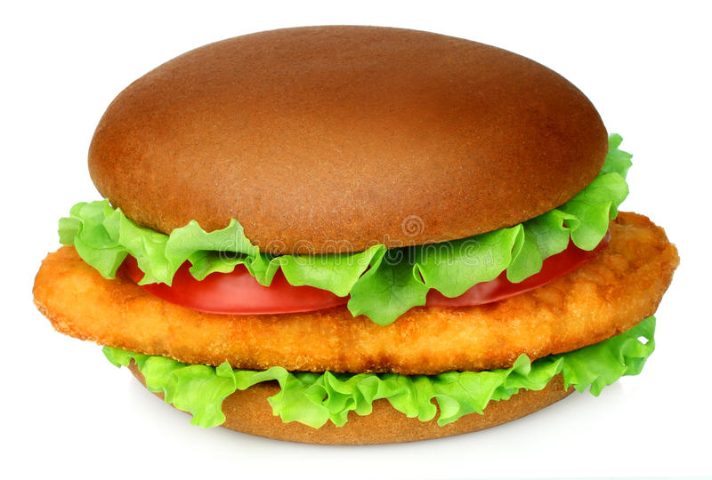 Big hamburger with chicken cutlet on white background royalty free stock images