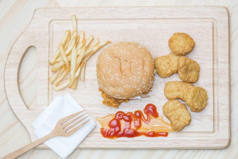 Big hamburger chicken stock photos