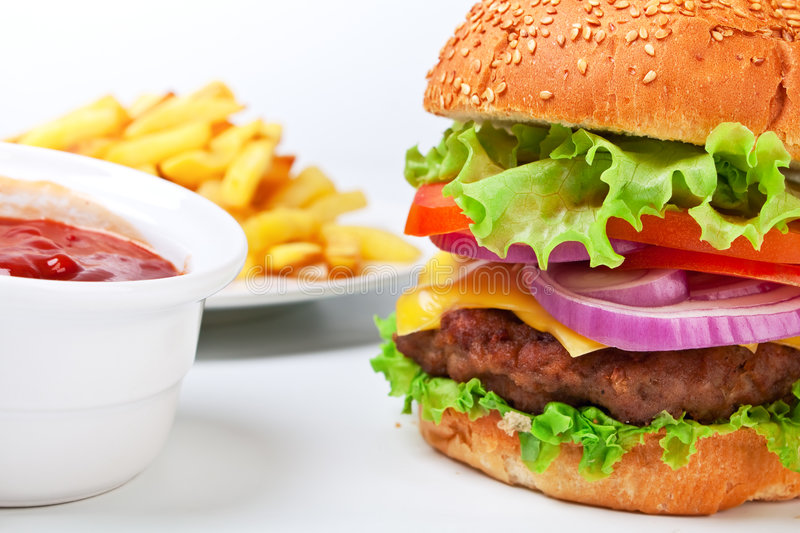 Download Big Hamburger With French Fries Stock Photo - Image: 7628124