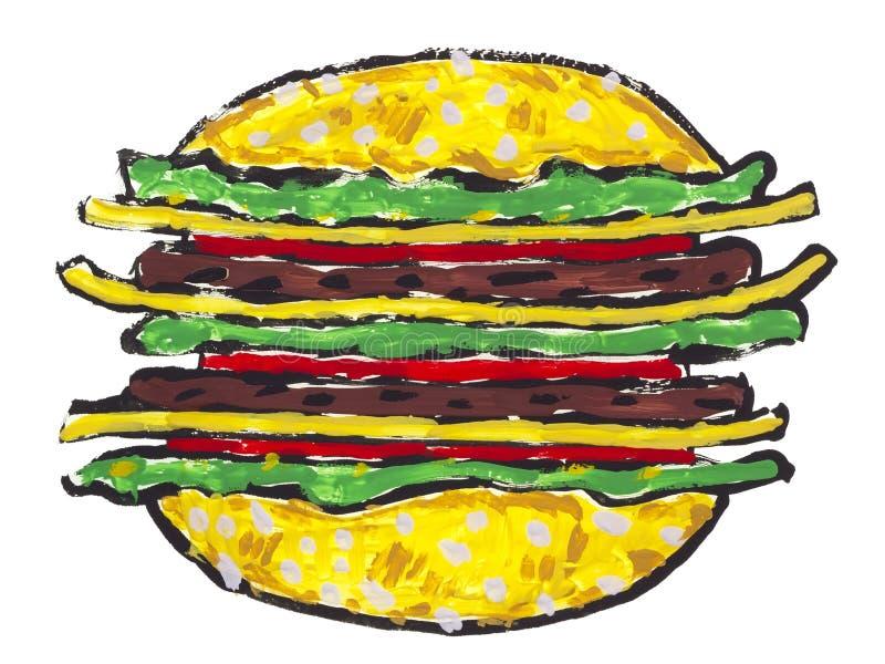 Big Hamburger Sandwich Isolated Stock Photography