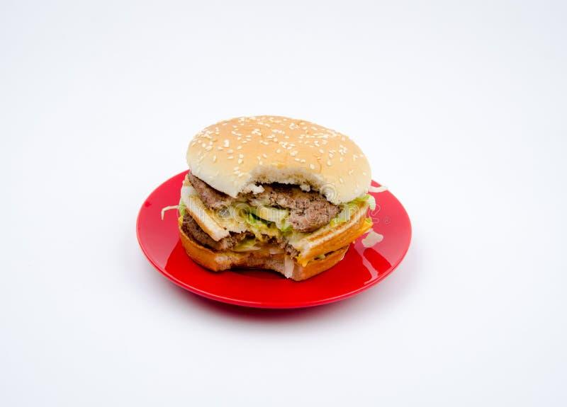Big hamburger on white background stock photography