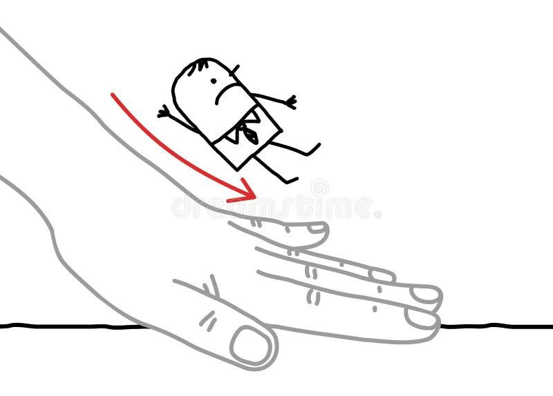 Big hand and cartoon businessman - sliding down royalty free illustration