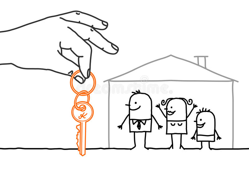 Big hand and cartoon characters - family with new home royalty free illustration