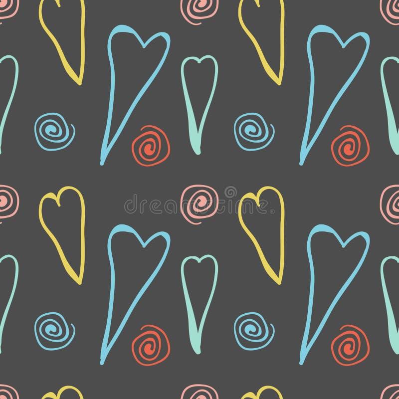 Big Hand Drawn Hearts Seamless Pattern stock illustration