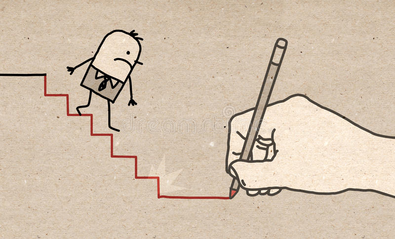 Big Hand - going down stock illustration