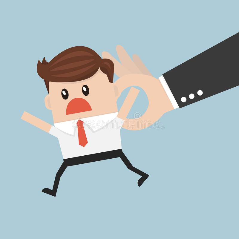 Big hand holding tiny businessman. vector illustration