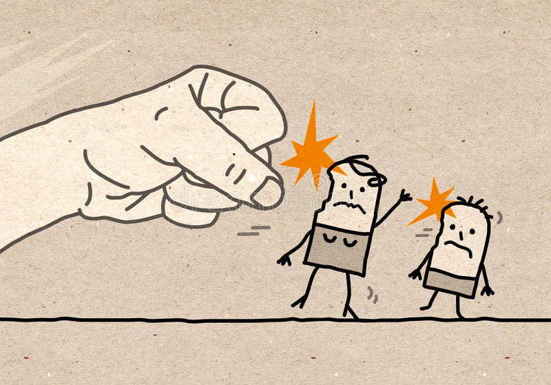 Big hand - violence. Cartoon Big hand - domestic violence royalty free illustration