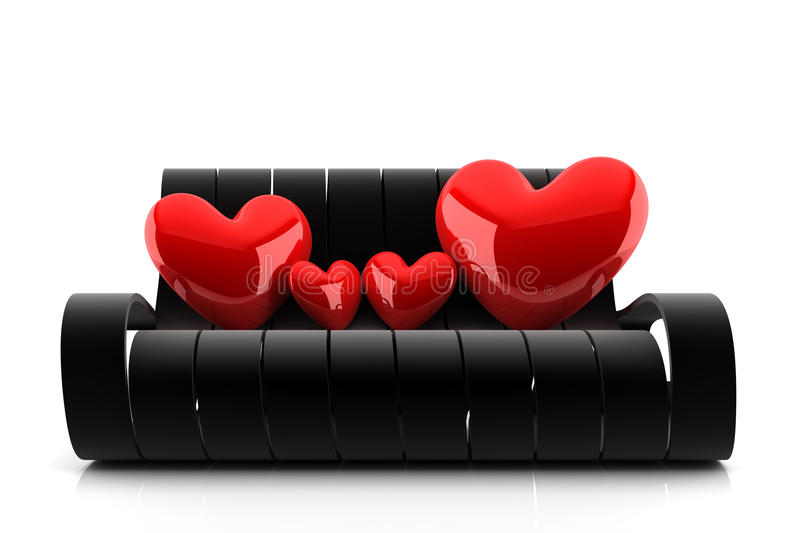 Big happy family. Of four red hearts sitting on a black couch vector illustration