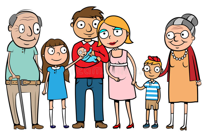 Big happy family. Cartoon vector illustration of a large family with parents, three children and grandparents royalty free illustration
