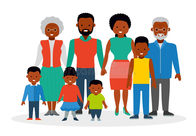 A big happy family. African Americans. Flat style illustration. A big happy family. African Americans. Grandfather, grandmother, parents, mother and father, the vector illustration