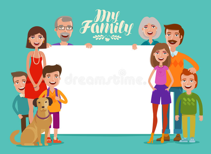Big happy family, banner. People, parents and children. Design template for invitation or congratulations. Cartoon. Big happy family, banner. People, parents and vector illustration