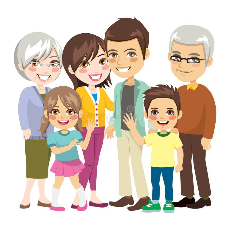 Big Happy Family. Beautiful big happy family of six members smiling together royalty free illustration