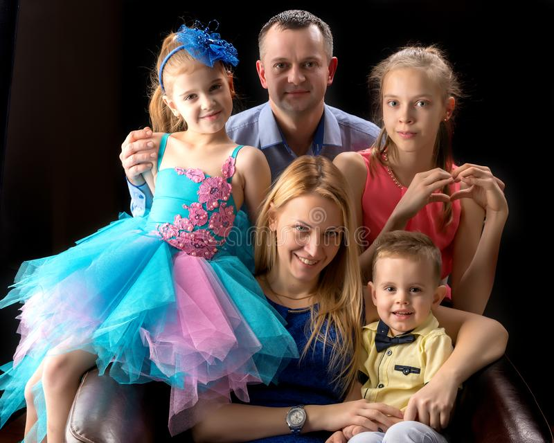 A big happy family with children. royalty free stock photography
